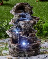 lighted water fountain led indoor outdoor stacked stone garden patio deck decor 1 of 12 see more