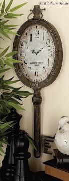 large elegant metal key clock wall