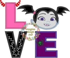 Vampirina Embroidery Designs Love Vampire Girl Inspired Machine Embroidery Applique Design Instant Download 5x7 6x10 7x11