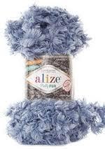<b>Пряжа Alize Puffy Fur</b> под мех для вязания руками без спиц ...