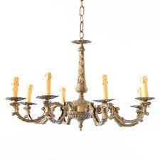 belgian vintage chandelier with casted bronze arms
