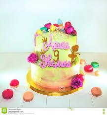 Birthday Cake Stock Image Image Of Flowers Girls White 80669423