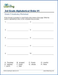 Alphabetical Order Grade 3 Vocabulary Worksheet Write Words In Alphabetical Order