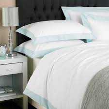 paoletti harvard border panel duvet cover set white duck egg blue double