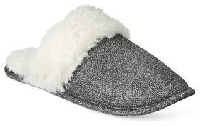 Inc International Concepts Womens Silver Metallic Faux Fur Scuff Slippers Shoes
