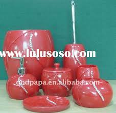 Red Bathroom Accessories Set With Diamonds Polyresin Red Bathroom