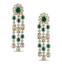 kundan pearls and emerald earrings