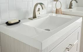 a single vanity where the sink and countertop are the same material choosing a