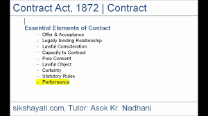 Contract Essential Elements CA CPT Merchantile Law General Law Definition of Contract 1