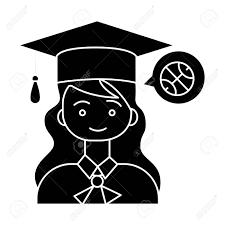 卒業式女の子帽子アイコンイラストベクトルに孤立した背景に署名します