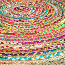 round rag rug boho chic hippie area rug 4 circle colorful jut