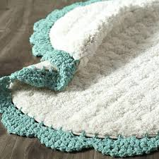 aqua bath rug crochet edge teal everything turquoise