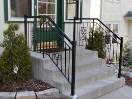 Iron step railing with 2 inch square end posts and square casting designs. Hand  RailingOutdoor Stair ...