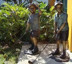 golfer garden statue outdoor bronze children playing golf garden statues bronze