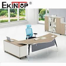 Modern desk office Minimal Shaped Design Melamine Faced Board Modern Office Desk With Metal Frame Jo1029 Overstock Shaped Design Melamine Faced Board Modern Office Desk With Metal