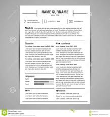 Resume Template Stock Vector Illustration Of Curriculum 103381201
