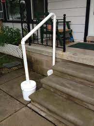 Handrails, balustrades, and banisters are a varied bunch. Temporary Hand Rail For My Mom When In Town Stair Handrail Handrail Railings Outdoor