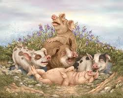 pig painting think happy by beverly levi parker