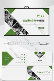Sales Training Template Green High End Business Sales Training Ppt Background