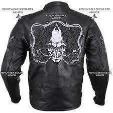 xelement b95010 men s black armored cruiser motorcycle jacket with reflective evil triple flaming sk leatherup com