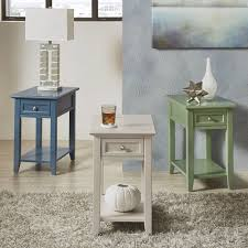 Zayden II 1-drawer Side Table with Charging Station iNSPIRE Q Modern (Blue  Steel)