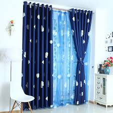 dark navy blue thick polyester thermal insulated blackout kids curtains