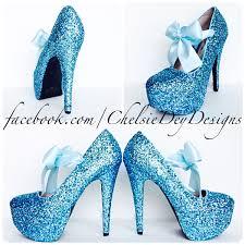 Light Blue Glitter Heels Blue Glitter High Heels Icy Light Aqua Blue Platform Pumps Turquoise Prom Pumps From Chelsie Dey Designs