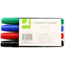 Flip Chart Markers Q Connect Flipchart Marker Bullet Tip Wallet Of 4 Assorted