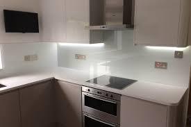 Splashback White Kitchen Kitchen Glass Splashback Coloured In Arctic White