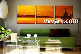 Living Room Artwork Decor 3 Piece Yellow Sunset Ocean Group Canvas
