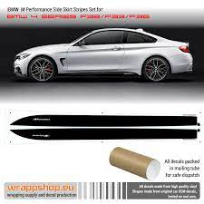Bmw M Performance Side Stripes Decals Set For M4 F32 F33 F36 Ebay