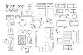floor plan symbols. Interior Design Floor Plan Symbols. Top View Furniture. Cad Symbol. Vector Furniture Collection Symbols