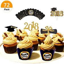 Sakolla 72 Pcs Graduation Cupcake Toppers And Wrappers For 2018