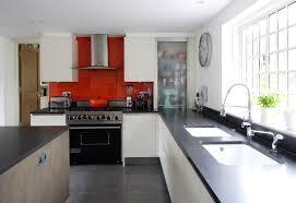 modern kitchen black and white. Grey Kitchen Cabinets Red Accents Quicua Modern Black And White