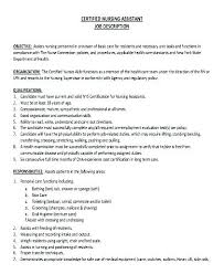 Cna Description Duties Resume Responsibilities Of A Nursing