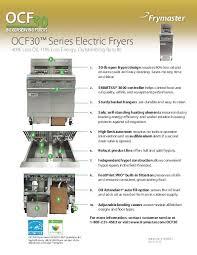frymaster product ocf30e electric fact sheet