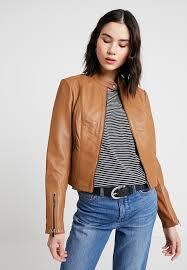 vila vihellas jacket leather jacket oak brown