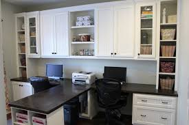 white glaze oak wood hutch with shelves built in t shape double desk using black polished built office desk ideas