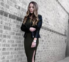 Olive Green Dress Outfit With Black Leather Jacket Black Black