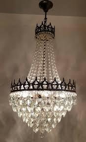 Brass Vintage Antique Crystals Large Lamp Ceiling Lighting