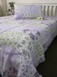 30 best Quilts images on Pinterest | Architecture, Blue bedrooms ... & Soft Lilac Lavender Roses Ruffled Quilted Bedspread Quilt 2pc Set KING  SINGLE Adamdwight.com