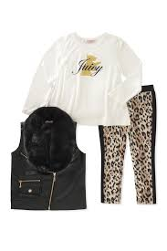 image of juicy couture scottie dog hi lo tee faux fur collar faux leather