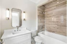 white wood tile bathroom.  Wood Drop In Bathtub With Faux Wood Tiles To White Tile Bathroom