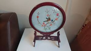 chinese 2 sided silk hand embroidered birds flowers in glass wood frame in good condition