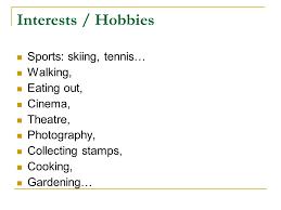 Hobbies Or Interests Resume Thesis Irandoc Ac Ir