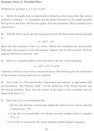 fluid dynamics equation sheet. examples 6 - velocity potential page 1 fluid dynamics equation sheet e