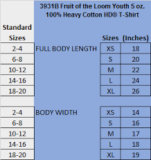 Fruit Of The Loom Sweatshirt Size Chart Youth T Shirt Size Chart Harris Elementary Spiritwear