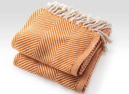 orange blanket blanket autumn natural cotton herringbone throw