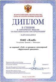 Награды Диплом ii степени и серебряная медаль
