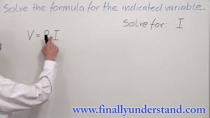 algebra solving a formula for indicated variable part 1